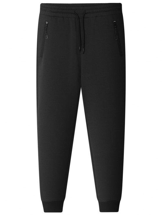 ladies Zipper Pocket Jogger Pants - BLACK 3XL