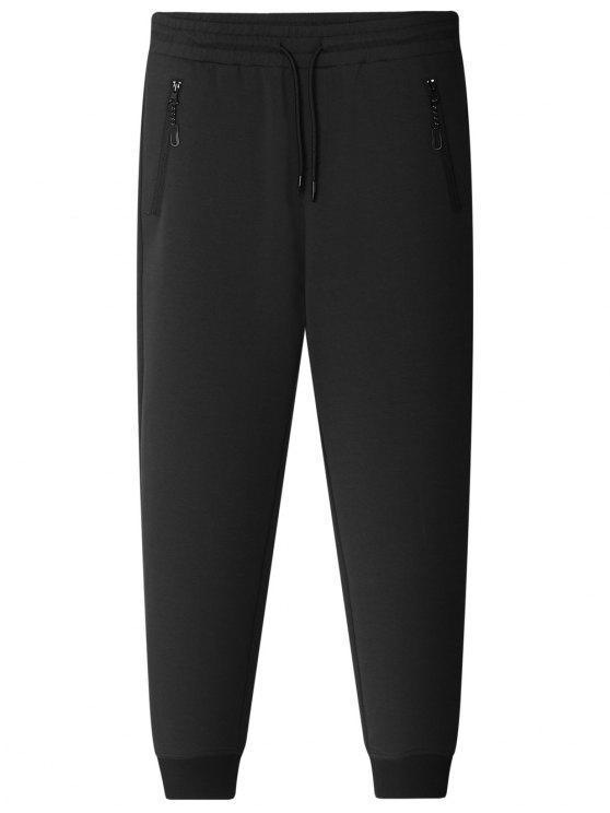 lady Zipper Pocket Jogger Pants - BLACK 2XL