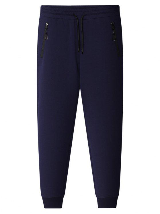 fashion Zipper Pocket Jogger Pants - CADETBLUE XL