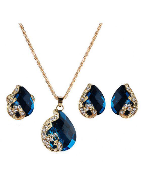 فو جوهرة الطاووس الدمعة والمجوهرات مجموعة - أزرق