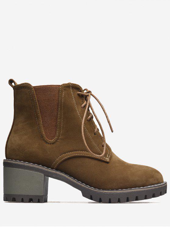 حذاء بكعب عريض وقماش مطاطي من الجانبين - براون العميق 37