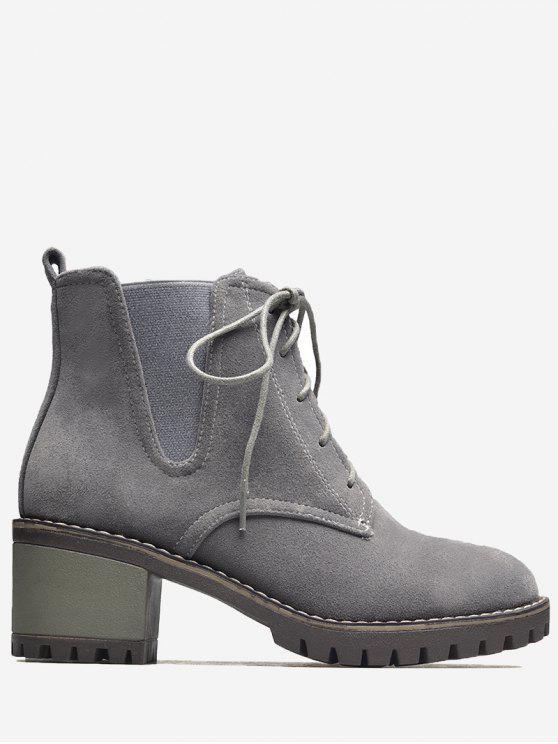 حذاء بكعب عريض وقماش مطاطي من الجانبين - رمادي 38