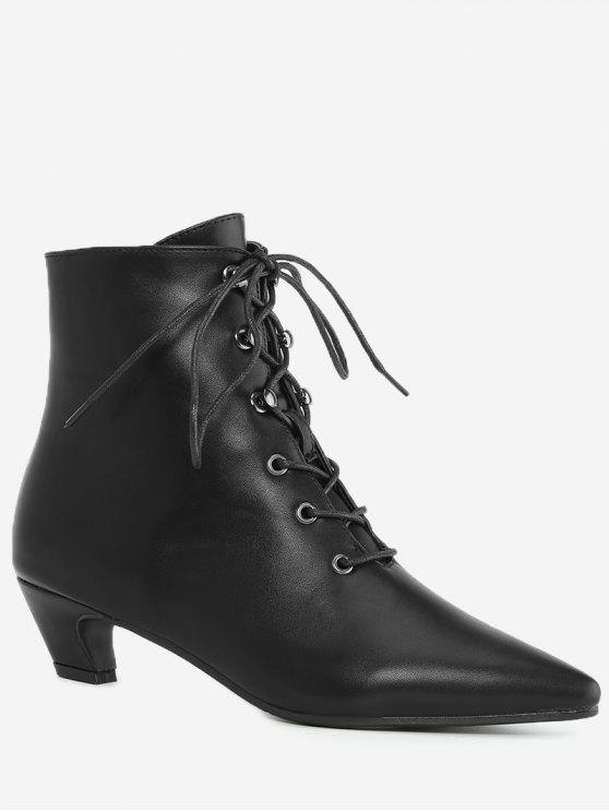 Pointed Toe Kitten Heel Ankle Boots BLACK: Boots 35 | ZAFUL