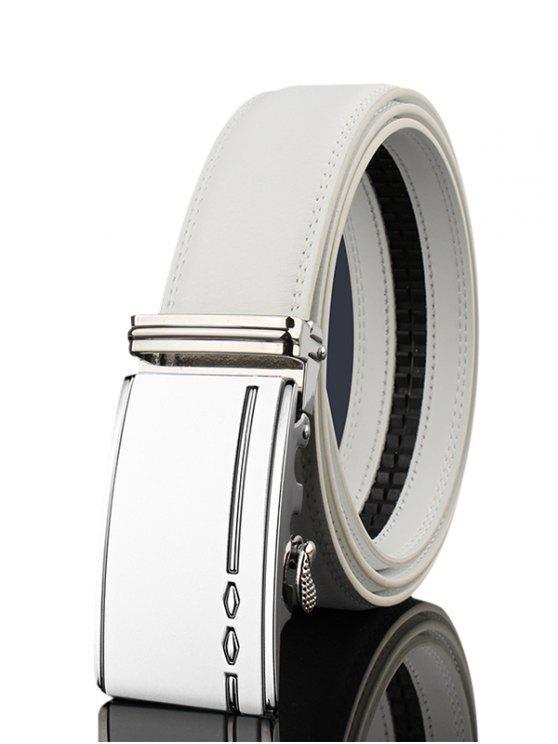 Hebilla de metal decorado cinturón de cuero de la PU ancha - Blanco 120CM