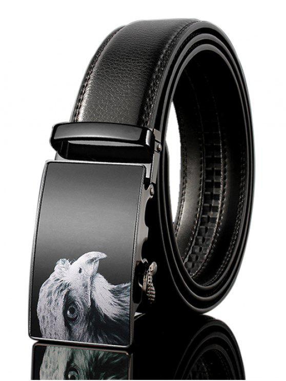 3D النسر مزين بو الجلود التلقائي مشبك حزام واسع - أسود 110CM