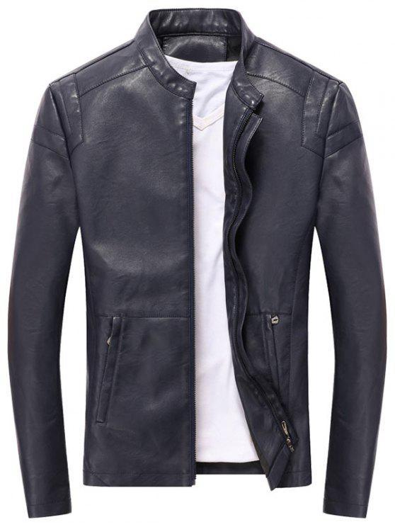 buy Casual Full Zip PU Leather Jacket - DEEP BLUE XL