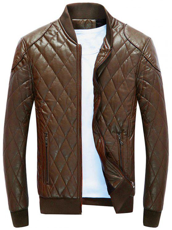 latest Zip Up Diamond Faux Leather Bomber Jacket - BROWN XL