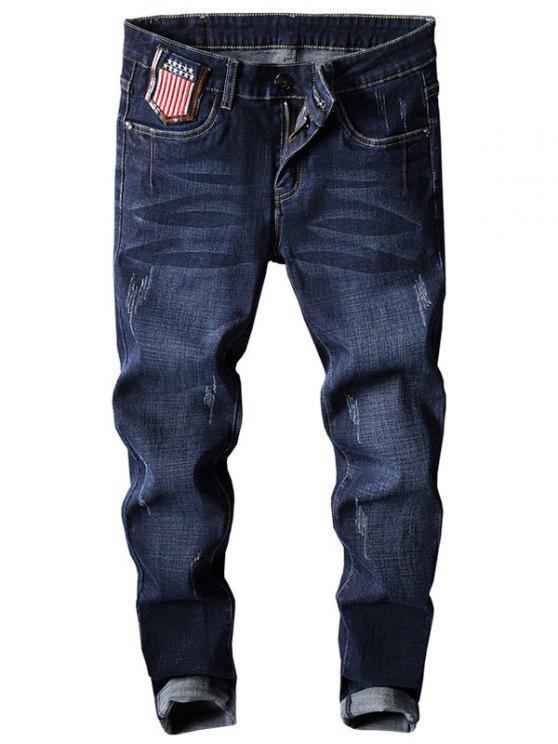 stern und streifen stickerei konische jeans dunkelblau. Black Bedroom Furniture Sets. Home Design Ideas