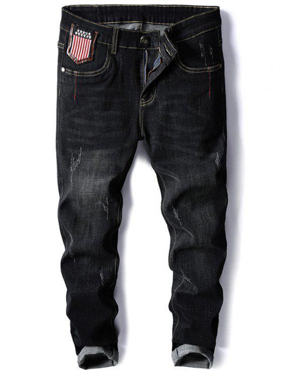 stern und streifen stickerei konische jeans schwarz. Black Bedroom Furniture Sets. Home Design Ideas