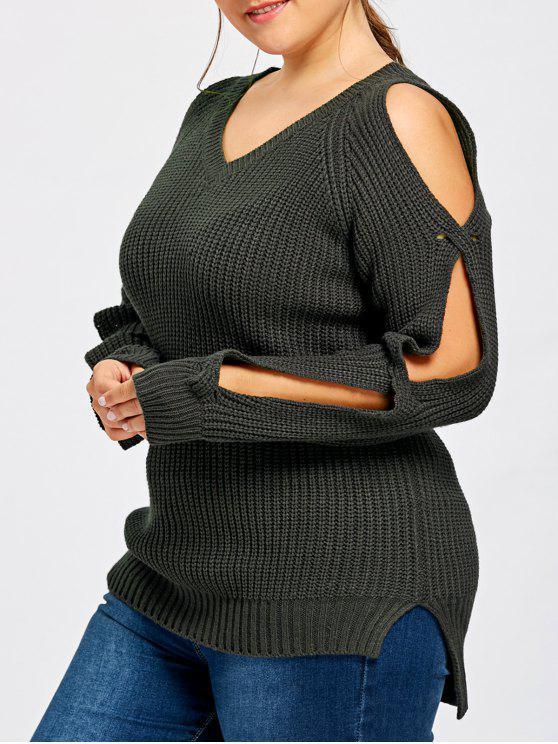 womens Plus Size Slit Sleeve V Neck Sweater - BLACK GREY 4XL