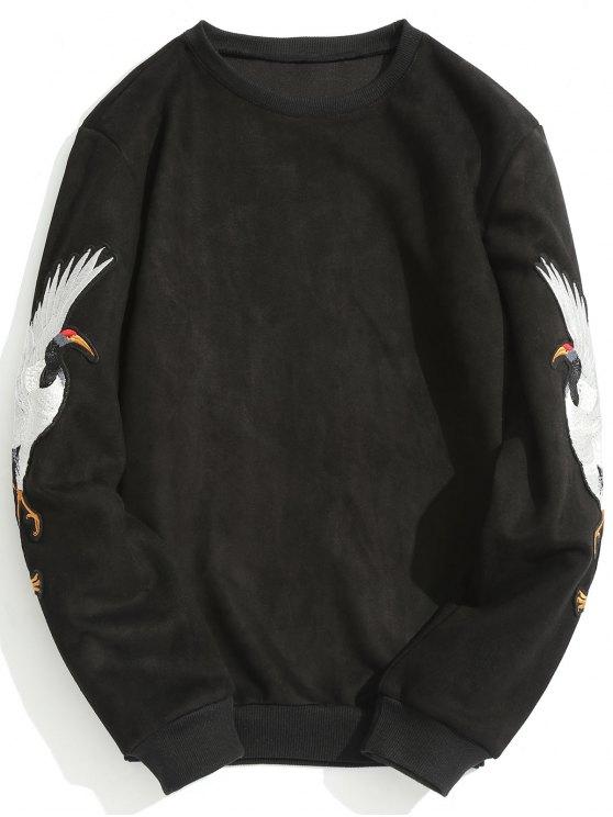 fancy Animal Crane Patch Suede Sweatshirt - BLACK L