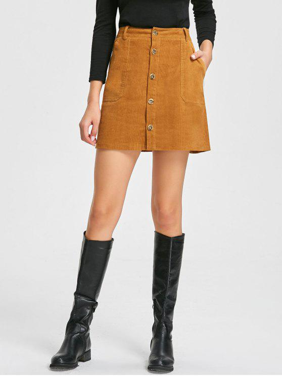 hot Patch Pockets A-line Corduroy Skirt - CAMEL M