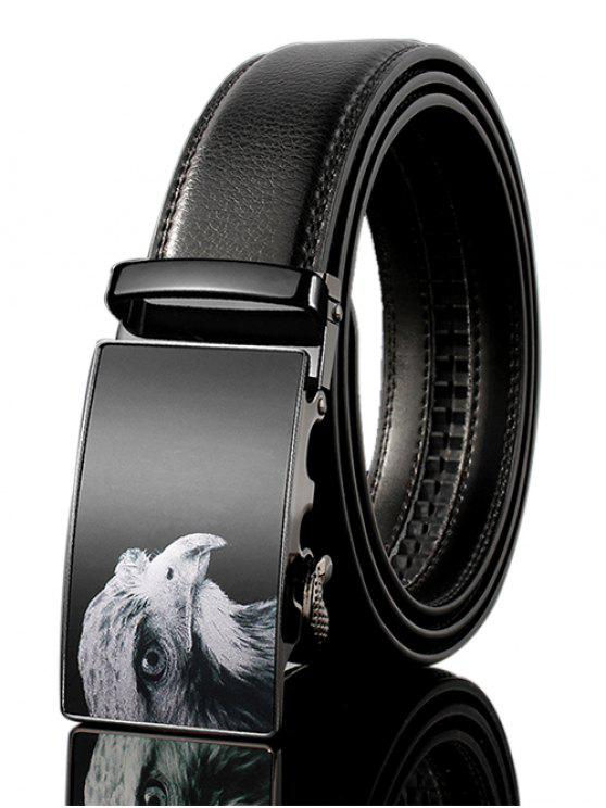 Cinturón Ancho Hebilla Automática Decorada de Cuero Falso 3D Alcon - Negro 125cm