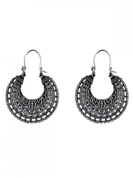 women U Shape Coin Decorated Ethnic Style Earrings - SILVER