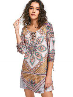 Printed Lace-up Tunic Dress - Xl