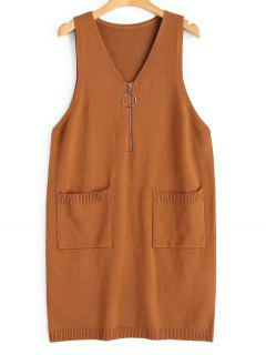 Longline Half Zip Vest V Neck Sweater - Light Brown