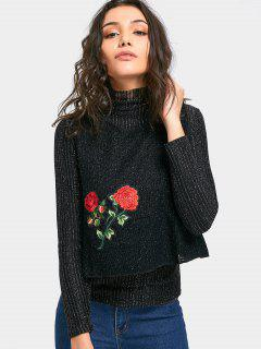 Embroidery Knitted Crop Top And Sweater - Black S