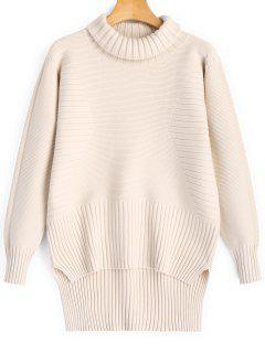 Turtleneck High Low Pullover Sweater - Light Apricot
