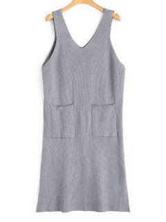 Longline Side Slit Vest V Neck Sweater - Gray