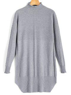 Mock Neck Cable Knit Panel Sweater - Gray