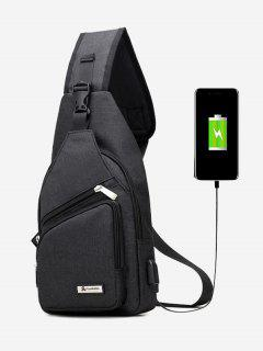 Buckle Strap USB Charging Port Chest Bag - Black