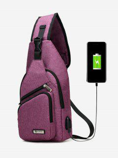 Buckle Strap USB Charging Port Chest Bag - Purple
