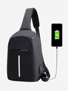 Color Block Earphone USB Charging Port Chest Bag - Black