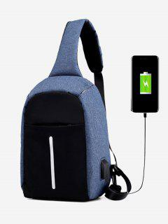 Color Block Earphone USB Charging Port Chest Bag - Blue