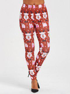 Christmas Cartoon Print Leggings - L