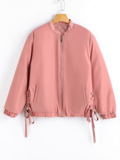 Zip Up Lace Up Veste Matelassée - Rose PÂle S