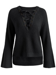 Side Slit Lace Up High Low Sweater - Black