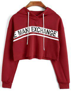 Graphic Cropped Pullover Hoodie - Red S