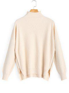 Side Zip Textured Mock Neck Sweater - Apricot