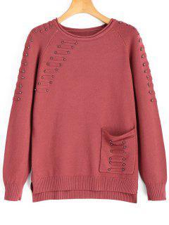 Pullover Mit Tasche,Hohem Niedrigem Saum Und Perlen - Russisch-rot