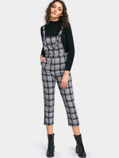 Plaid Capri Overalls With Pocket - Gray M
