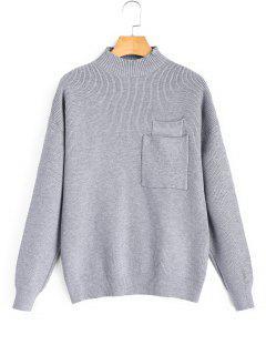 Pullover Mit Tasche Und Mock Neck  - Grau