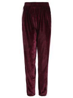 Striped Elastic Waist Velvet Pants - Burgundy M