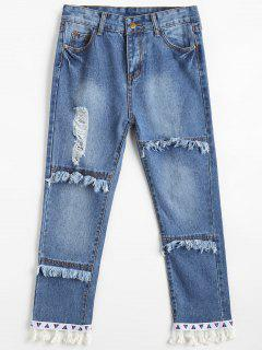 Jeans Déchiré Effiloché à Glands - Denim Bleu Xl