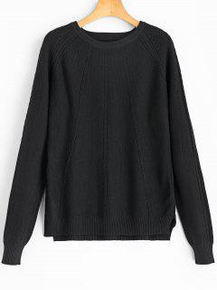 Cable Knit Panel Textured Sweater - Black