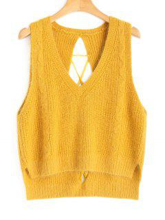 High Low Lace Up Vest Sweater - Mustard