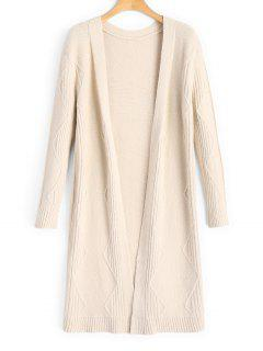 Ribbed Panel Zig Zag Open Front Cardigan - Light Apricot