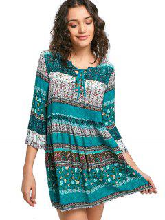 Lace-up Tiny Floral Dress - Lake Green M