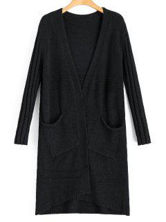 Long Open Front Cardigan With Pockets - Black