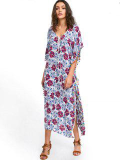 Floral Pom Pom Kaftan Dress - White Xl