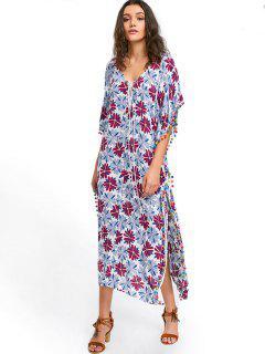 Robe Caftan Florale à Pompons - Blanc M