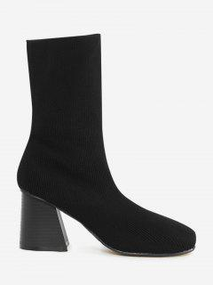 Block Heel Ankle Boots - Black 40