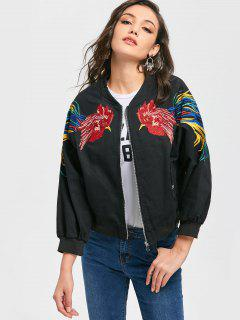 Cock Embroidered Patch Zip Up Jacket - Black M