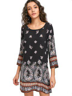 Floral Tunic Dress - Black M