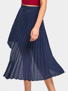 Asymmetrical Chiffon Pleated Midi Skirt - Cadetblue S
