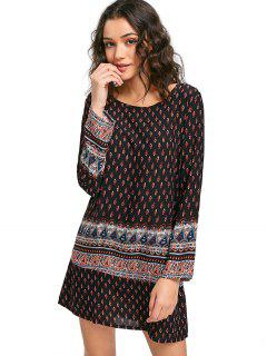 Long Sleeve Printed Dress - Black M
